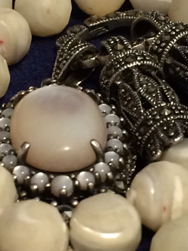 Victorian Style Sterling M.O.P. Marcasite Convertible Necklace Signed KL .925