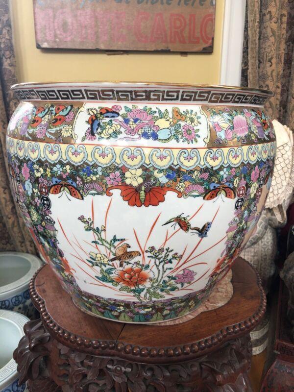Chinese Famille Rose Medallion Porcelain Fish Bowl Planter Lg Butterflies Marked