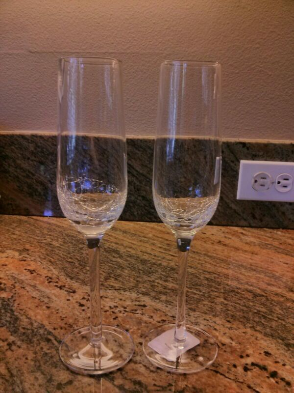 Pier 1 CRACKLE 2 Champagne Flutes New Multiples Available