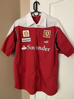F1 FORMULA 1 Team FERRARI SHELL PUMA Red SHIRT SIZE XL ITALY SANTANDER RARE!!