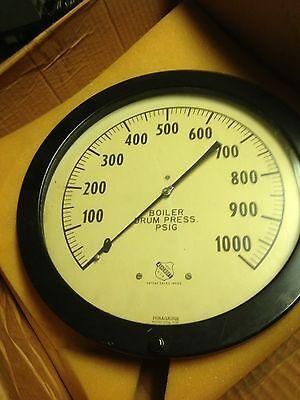 Vintage Ashcroft Boiler Drum Pressure Gauge 1000 Psig
