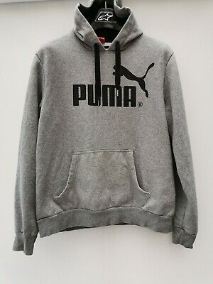 Puma Mens Hooded Jumper Size Large Men's Grey Hoodie Sweater Top L Hoody