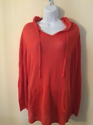EILEEN FISHER ORGANIC LINEN KNIT CORAL ORANGE PULL-OVER HOODIE EUC PLUS SZ 3X