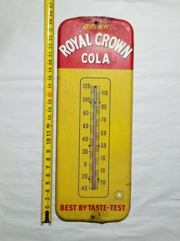 Vintage Royal Crown (RC) Cola Thermometer Metal and wood Sign works Rare Version