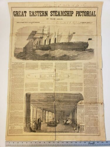 1858 RARE GREAT EASTERN PICTORIAL HUGE SUPPLEMENT FRANK LESLIE