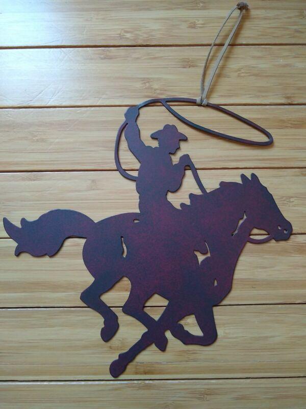 "Die Cut Metal Cowboy Horse Lasso Rider Ornament 8.5"" Long Western Rodeo"