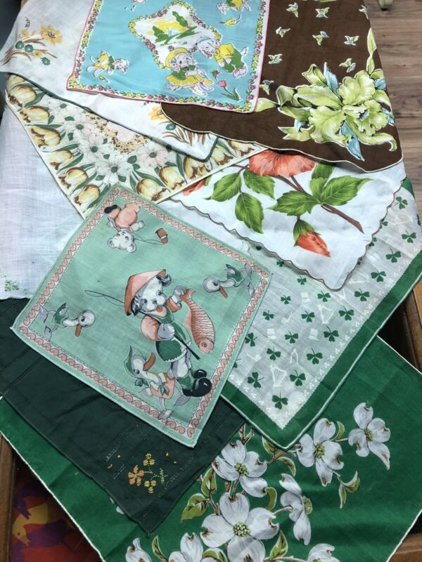 Beautiful Lot Of 10 Vintage Ladies & Child Handkerchiefs Green Floral Clover