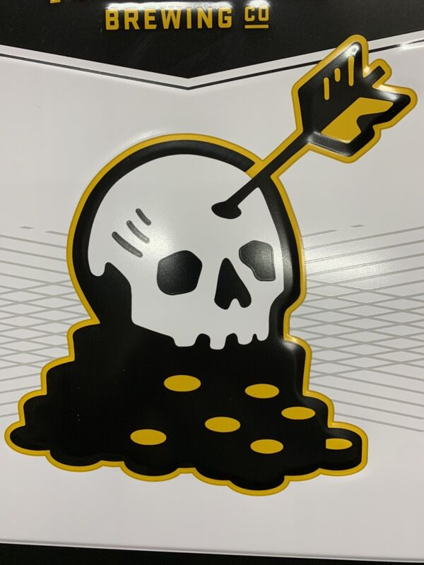 REAL ALE BREWING Lost Gold craft beer metal Skull tacker beer sign TEXAS New