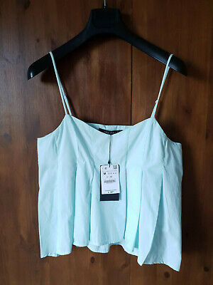 ZARA VEST TOP Pastel Green Cotton Swing Cami XS M L / UK 8 12 14 - NEW