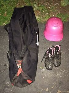 Youth small baseball helmet size 1 cleats and baseball bag