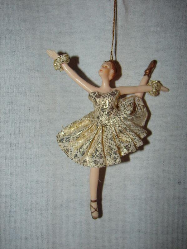 Beautiful Ballerina Doll Christmas Ornament Gold Trimmed Dress