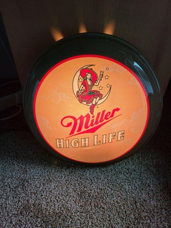 miller high life beer girl on the moon back bar pub light up sign game room mib