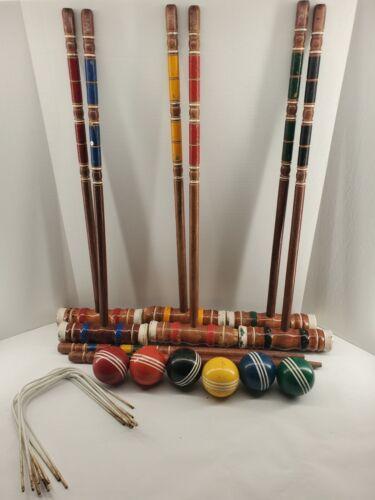 Vintage Wilson Wood Croquet Set 6 Player with Bag Read Descr