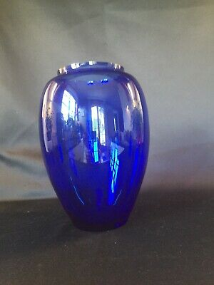 France   Grand vase bleu cobalt en verre   H: 235 mm