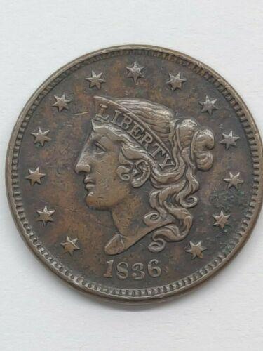 1836 LARGE CENT XF DETAILS