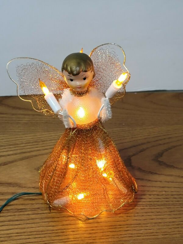 """Vintage CHRISTMAS ANGEL FEATHER Tree Topper Tulle Gold 6.5"""" Lighted Light Up"""