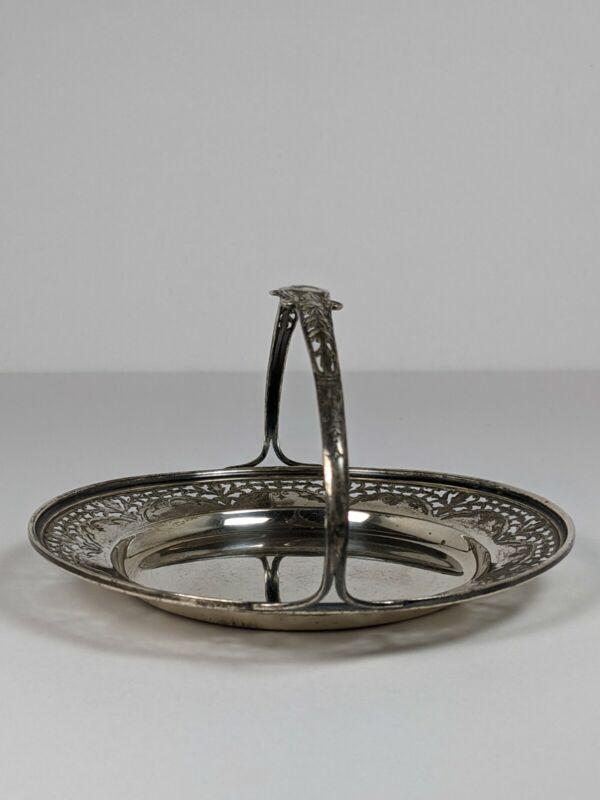 """Antique 1900s Watson Sterling Silver 6"""" Bon Bon Basket 66506 Monogram """"W"""" Handle"""