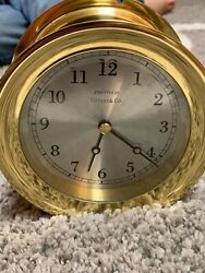 VINTAGE TIFFANY & CO. PORTFOLIO ROUND BRASS WALL CLOCK Nautical WORKS Marina