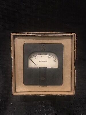 Vintage Nos Ge Panel Meter Ac Volts Gauge Wbox 0-150 Volts Mod 25vaxi Wbox