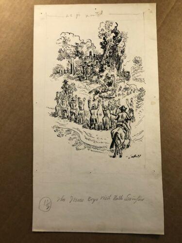 Original Published Signed Western Illustration Pulp Art