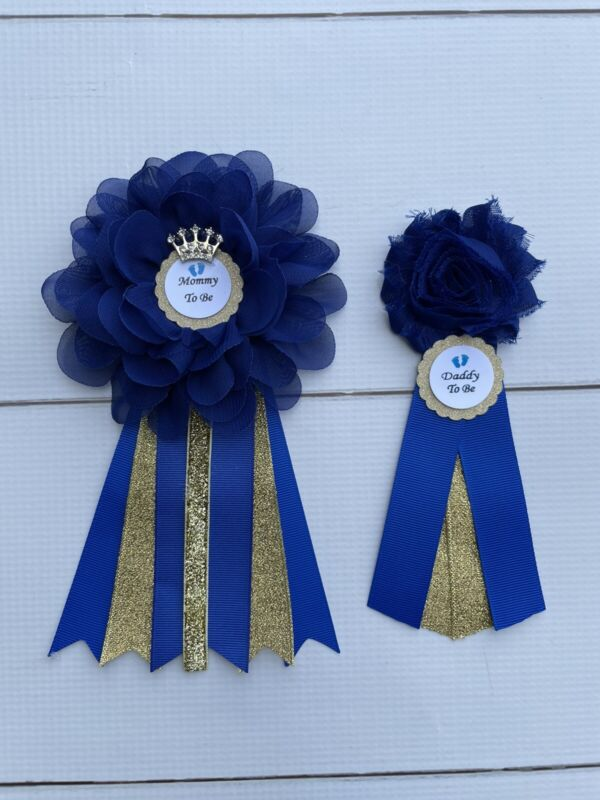Royal Blue And Gold Prince Baby Shower Corsage ,Mommy & Daddy Corsage Set