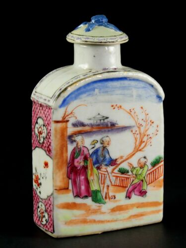 ~1735-1796 QIANLONG Qing Chinese Fine Porcelain Tea Caddy Figural Polychrome