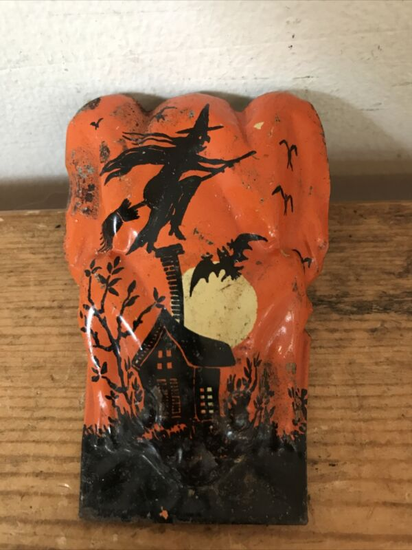 Vtg T Cohn Metal Halloween Holiday Witch Haunted House Noisemaker Clicker USA
