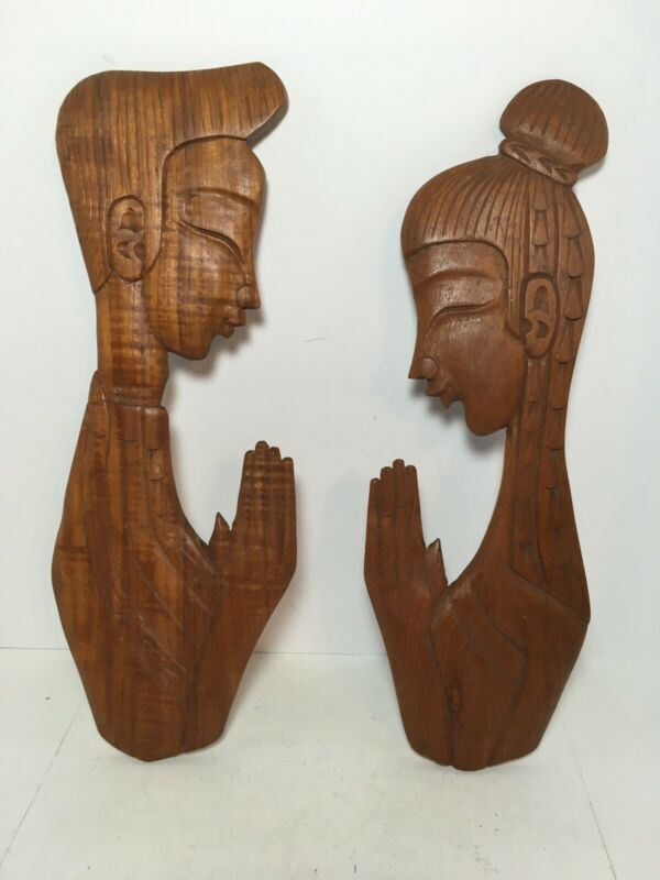 "Vintage Man Woman Praying Wood Figures Wall Home Decor 15"""