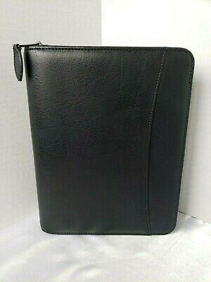 Franklin Covey Black Synthetic Faux Leather Classic Planner Zip 1.5 Rings