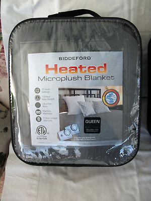 Biddeford Electric Heated Warming Micro Plush Queen Grey Blanket Digital Control