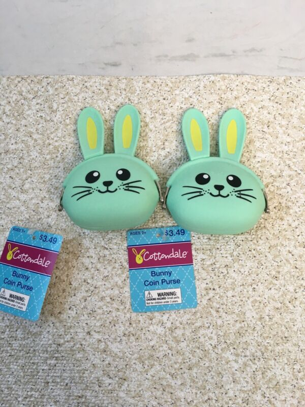 Mint Green Easter Bunny Rabbit Rubber Coin Purses Easter NWT Cottondale CVS