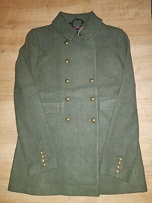 Brand New ladies authentic Superdry PREMIUM Military Khaki PeaCoat,sz12,med