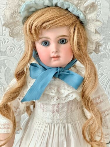 Lovely French Long Human Hair Doll Wig Long Sausage Curls & Bonnet