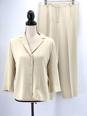 Yansi Fugel Womens Pant Suit Beige 10 Microfiber Career Shirt & Trouser 2pc Set