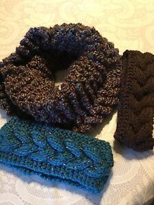Handknit Cozy Infinity Scarves with co-ordinating Headbands