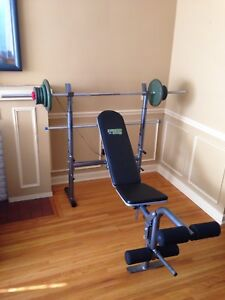 Weight bench, over 100 lbs metal weights, barbell