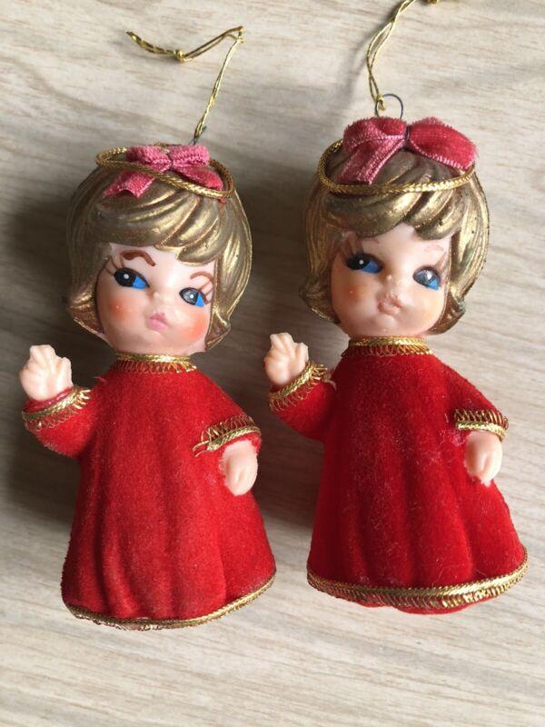 2 Vintage Flocked Red Angel Plastic Christmas Ornaments Japan