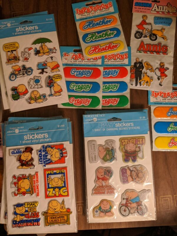 Vintage Puffy Stickers Changing Scenes Ziggy Annie Heather Jodi Big Lot new!