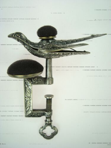 ANTIQUE VICTORIAN ORIGINAL SILVER SEWING BIRD CLAMP W/CUSHIONS PAT. FEB 15 1853