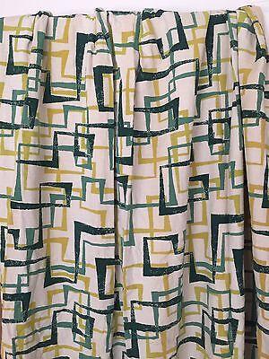 Vintage Barkcloth Drapery Panel Curtain Bark Cloth Fabric Atomic Geometric 1950s