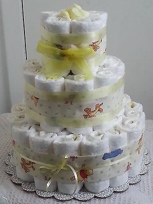 3 Tier Winnie the Pooh Diaper Cake Baby Shower Gift Centerpiece Boy Girl Unisex