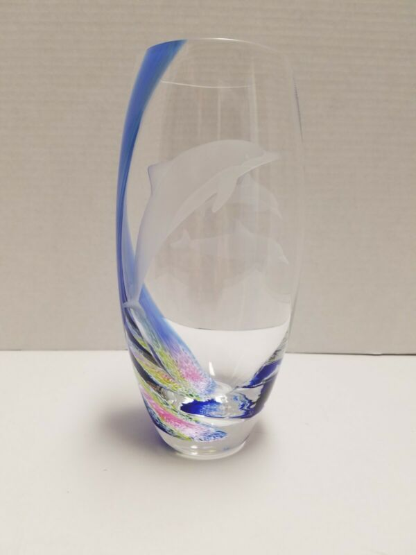 Lenox Dolphin Vase Caithness Art Glass Early Version w/3 Dolphins Pristine Cond.