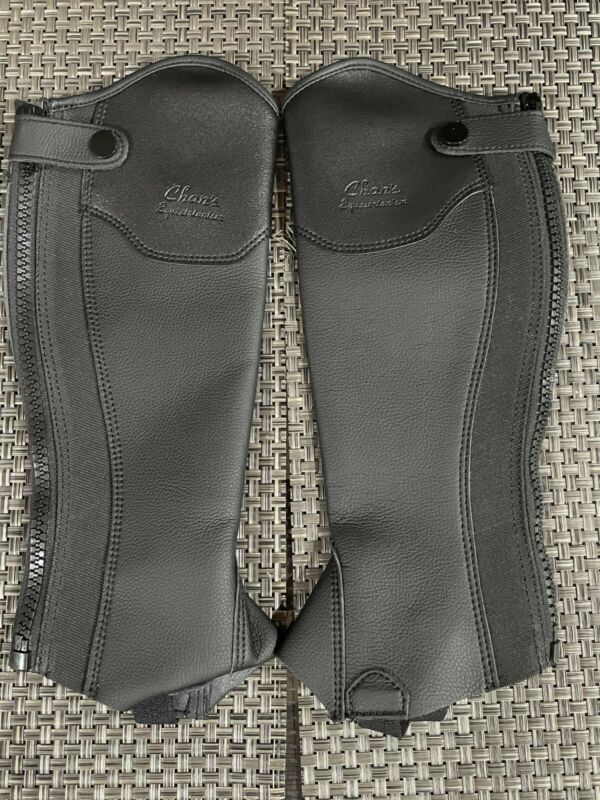 Chan's Equestrian Black leather half chaps