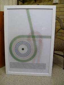 LARGE WHITE FRAMED  ABSTRACT PRINT, V&A. New Lambton Heights Newcastle Area Preview