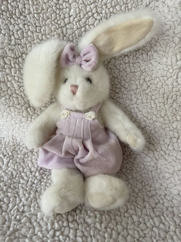 """10"""" JERRY ELSNER White Bunny Rabbit with Velour Lavender Romper Overalls JOINTED"""