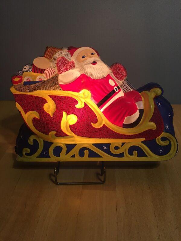 "Vintage 50's L A. Goodman Santa Claus Sleigh Christmas Indoor Decoration 12""Long"