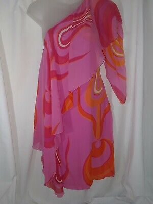Vintage Versace A Line Silk Chiffon Abstract Dress Hot Pink Flames 38 Amazing #