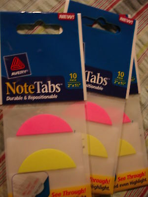 Avery Note Tabs 2x1.5 10 Pack Lot Of 3 16307