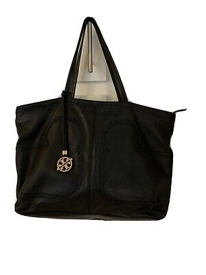 Tory Burch Large Soft Black Pebbled Leather Tote/Shoulder Bag With Charm Black Leather Large Tote