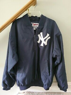 Majestic Navy L NY NEW YORK YANKEES 1/2 Zip Dugout Jacket Used Good Condition